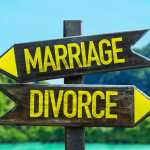 Marriage - Divorce signpost in a beach background